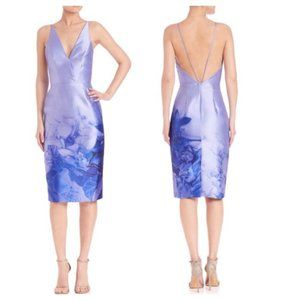 ML Monique Lhuillier Deep-V Printed Mikado Dress